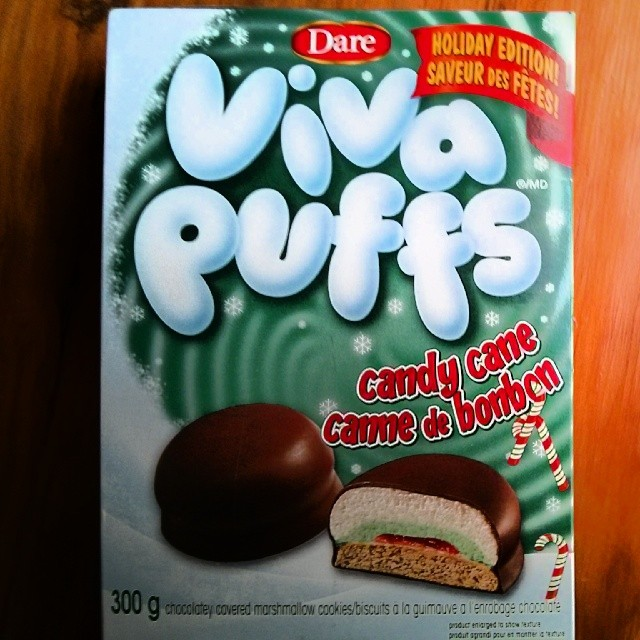 a photo of a box of holiday edition candy cane viva puffs