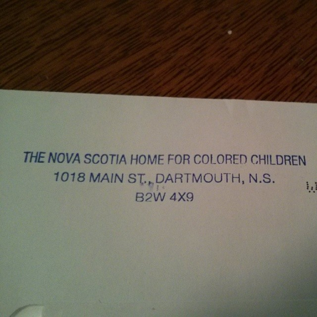 a photo of an envelope from the nova scotia home for colored children