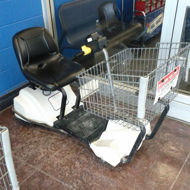 a photo of a mobility scooter at a walmart