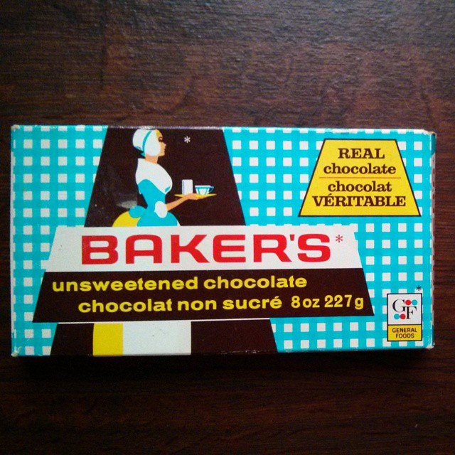 a photo of a box of very old unsweetened baker's chocolate