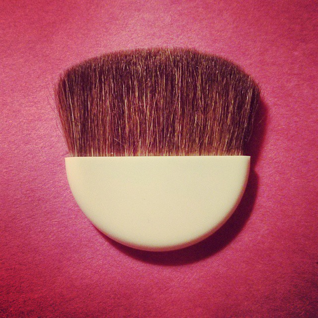a closeup photo of a blush makeup brush