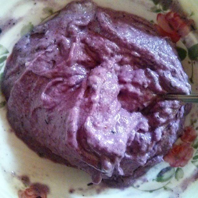a photo of some frozen banana and blueberry cream