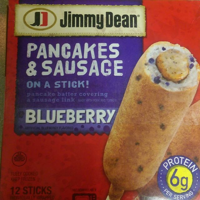 a photo of jimmy dean blueberry pancakes & sausage on a stick box