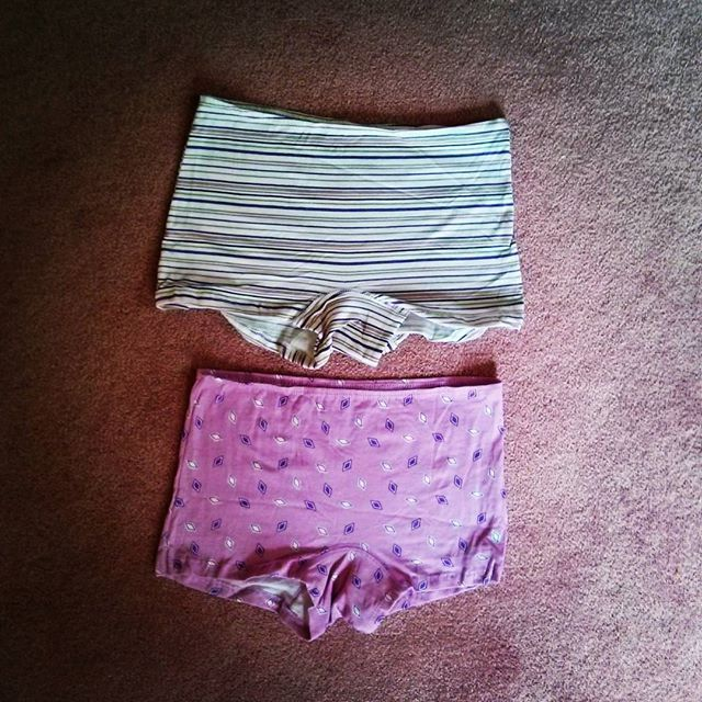 a photo of two pairs of lady's boxer shorts