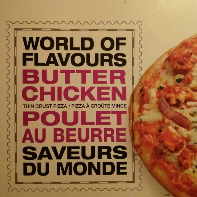 a photo of president's choice world of flavours butter chicken pizza box
