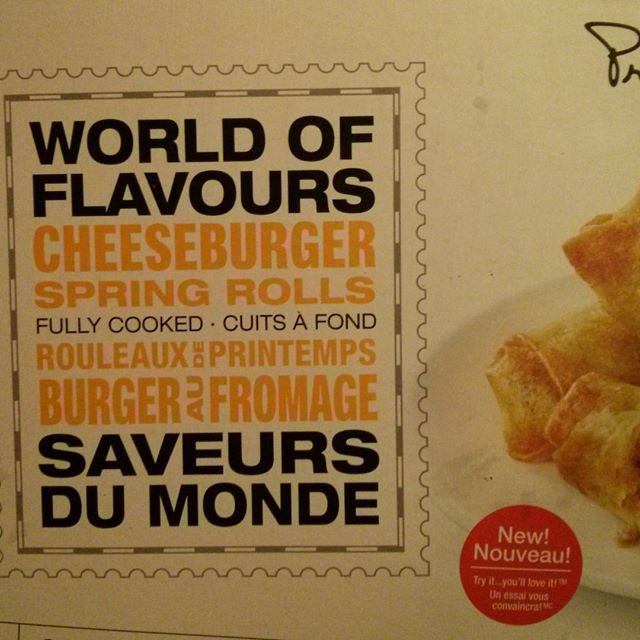 a photo of president's choice world of flavours cheeseburger spring rolls  box