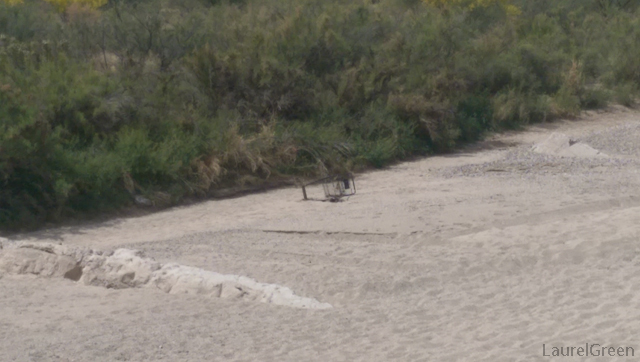 discarded shopping cart in the dry rillito river