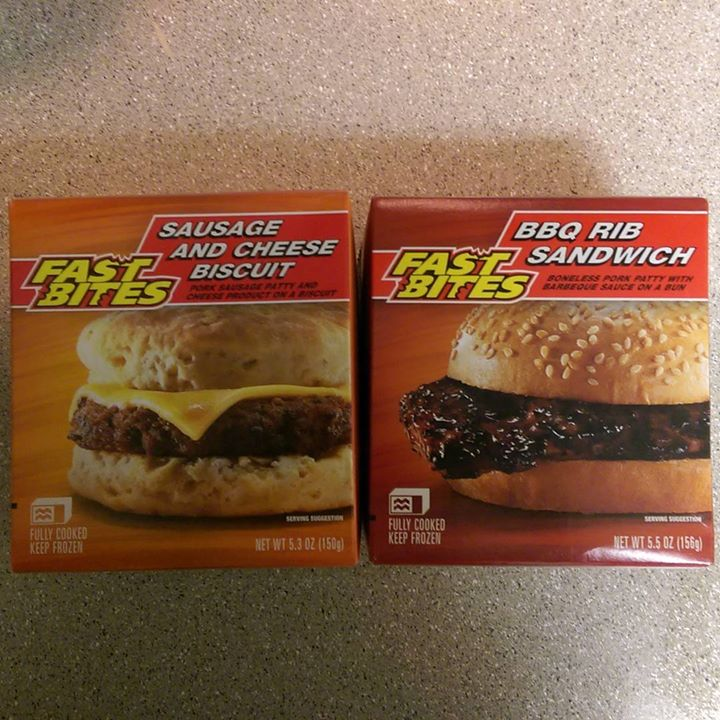 a photo of a fast bites sausage and cheese biscuit, and a fast bites bbq rib sandwhich