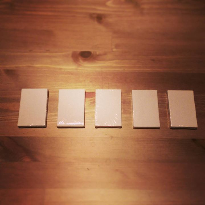 a photo of five white miniature canvasses