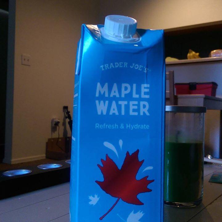 a photo of a carton of trader joe's maple water