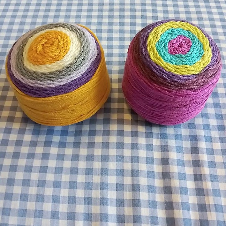 a photo of two yarn cakes
