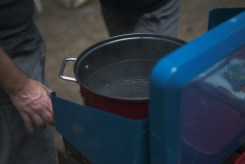 Water boiling on a camp stove