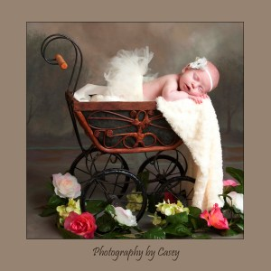 Sleping newborn baby in antique carriage photographer