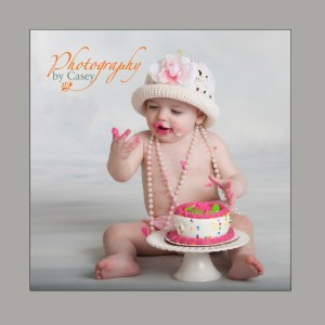 Baby's first birthday cake smash photography