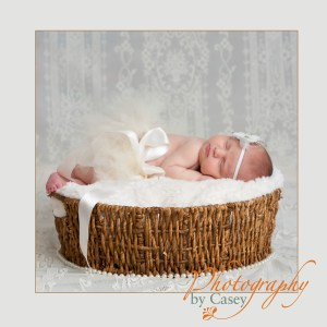 photography of newborn baby girl in tutu sleeping in basket