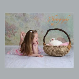 photography of bunny and little girl
