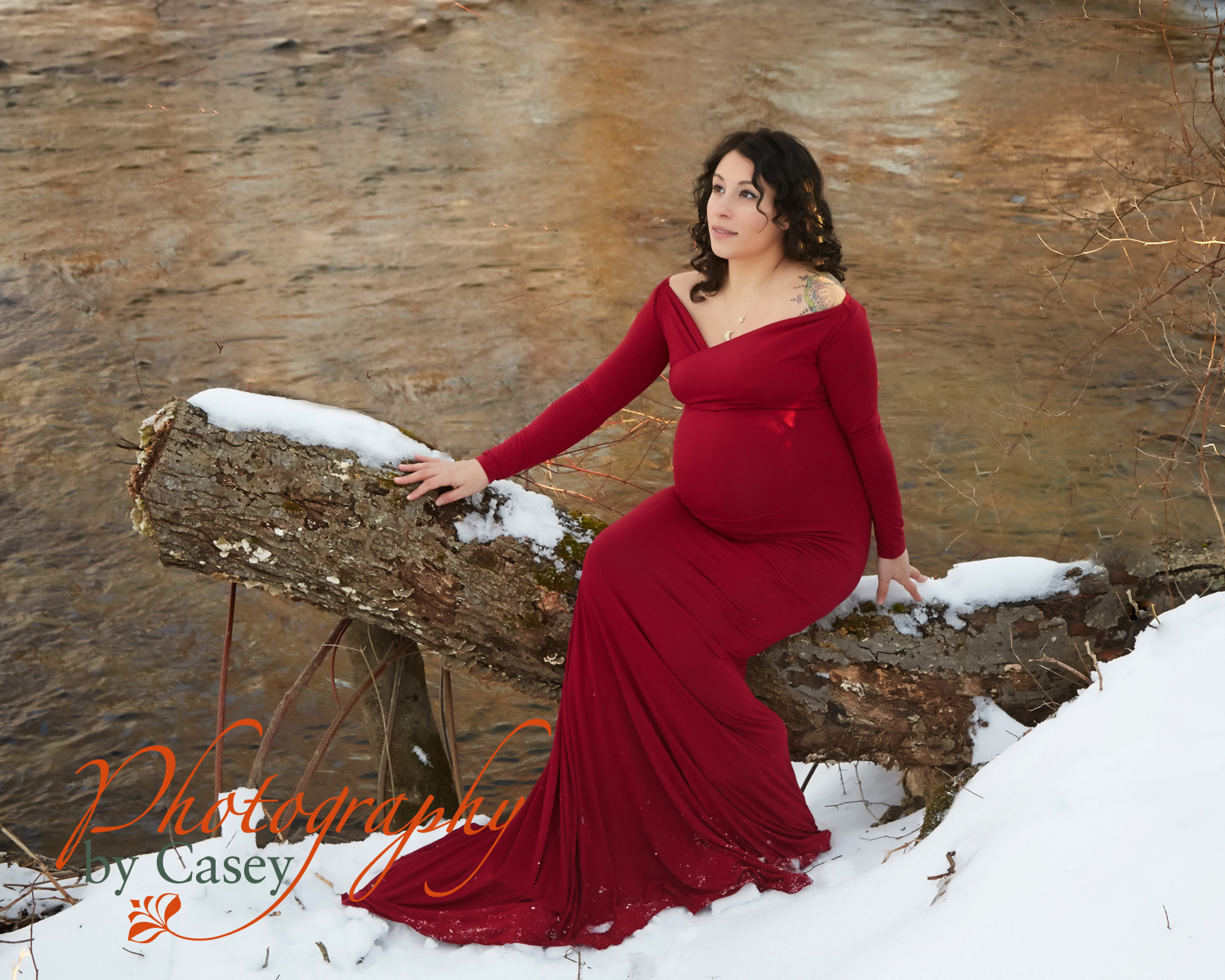 winter maternity photo session