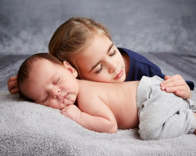 Newborn and sister portraits