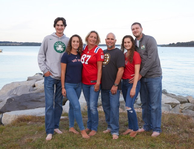 portraits of family with sports attire