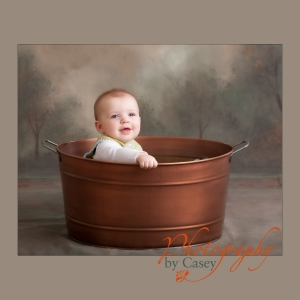 baby in bucket photography