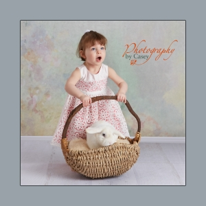 Easter bunny photography with little girl and live bunny