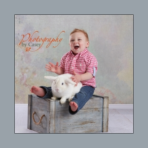 Spring photography with children and live bunnies