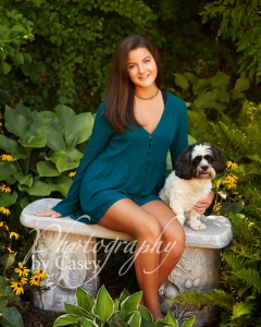 High School Senior Photography with pets Wrentham MA