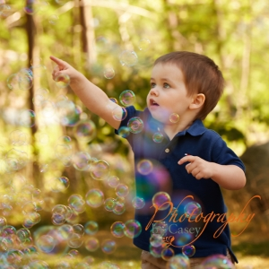 Children photography with bubbles