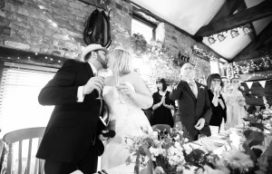 A kiss after the toast.