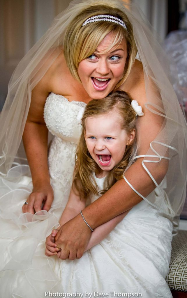 Bride and her flower girl at Iscoyd Park Wedding venue