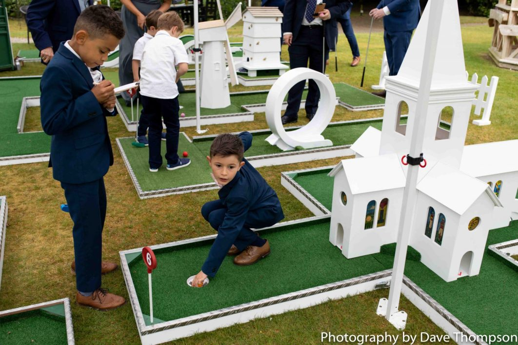 Crazy Golf on the lawn during a wedding at Mere Court Hotel