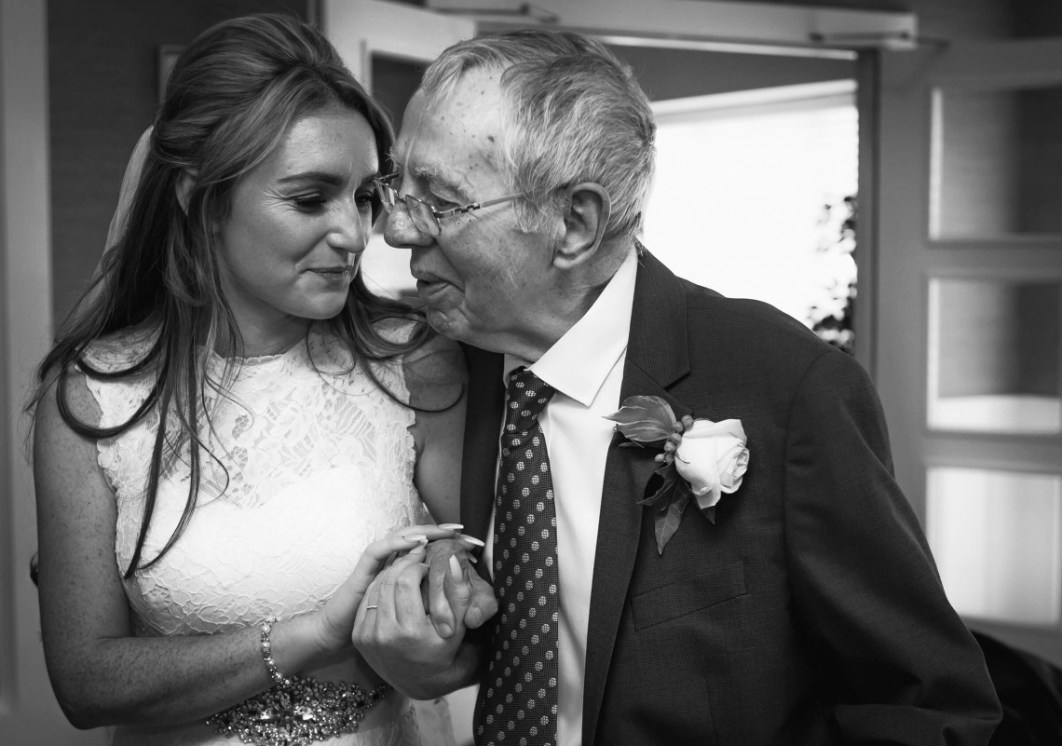 Family wedding, Bride and Grandad, Black and White wedding photography