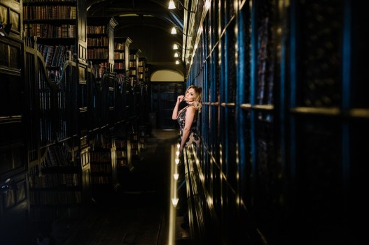 A bride in a Library