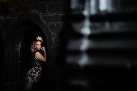 A bride in a dark dress