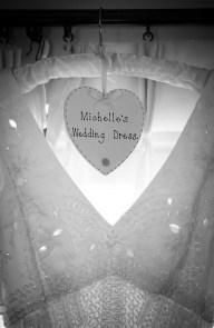 The wedding dress in a window