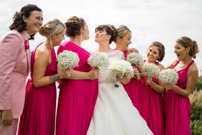 The bride and her bridesmaides