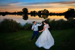 Dancing in front of the lake at Sandhole Barn