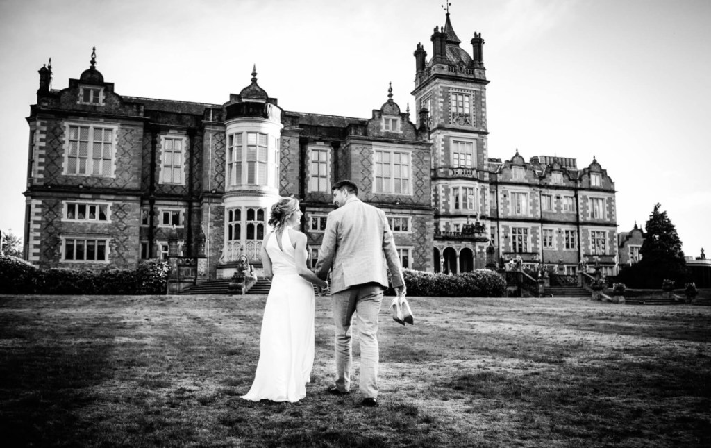Bride and Groom outside Crewe Hall in Cheshire