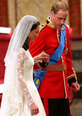 Prince William and Kate Middleton during the ceremony at Westminster Abbey