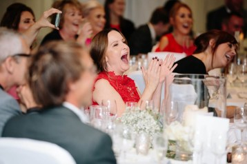 Guests laugh during the speeches