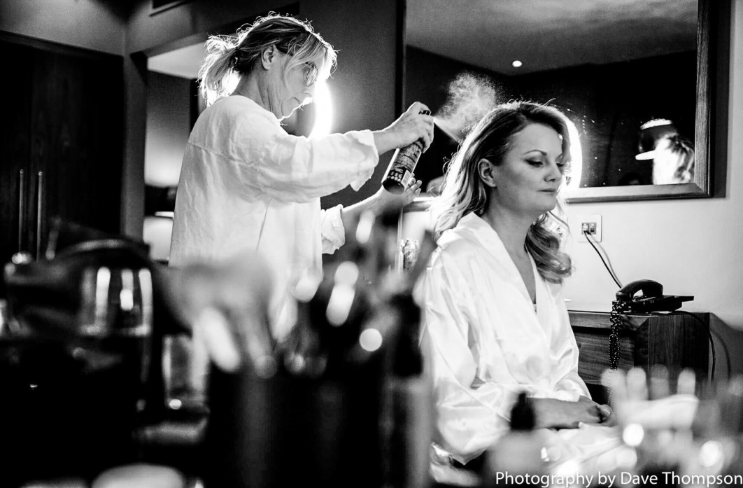 Hair dresser during Bridal prep at The Mere resort