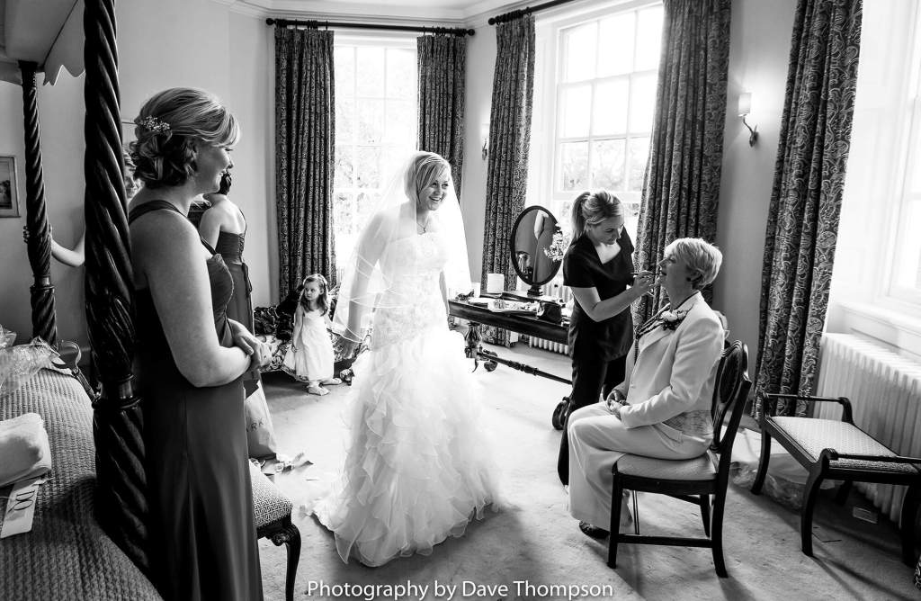 The bridal party getting ready before the wedding