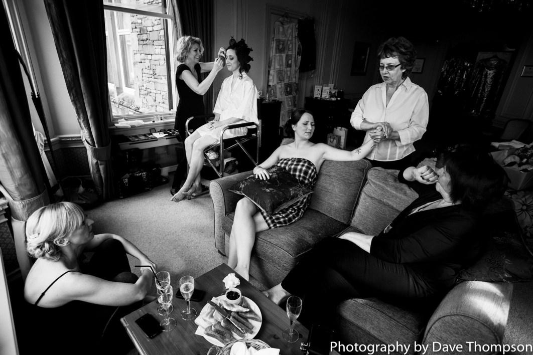 Family gather round during Bridal prep