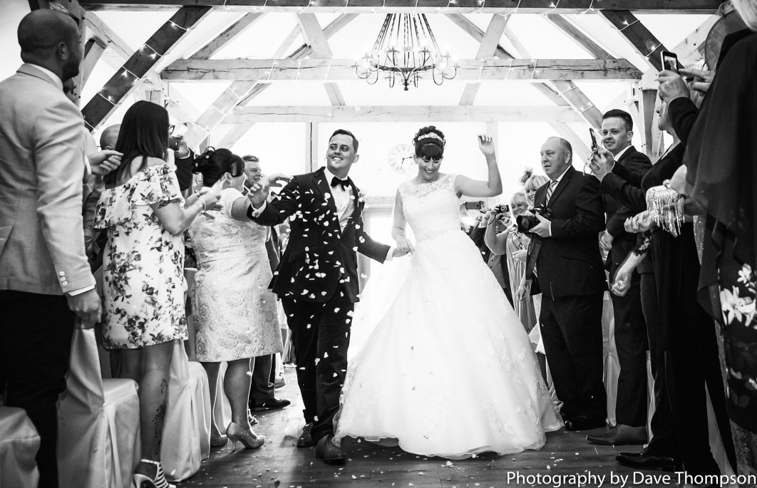 The Happy couple dance down the aisle after their ceremony