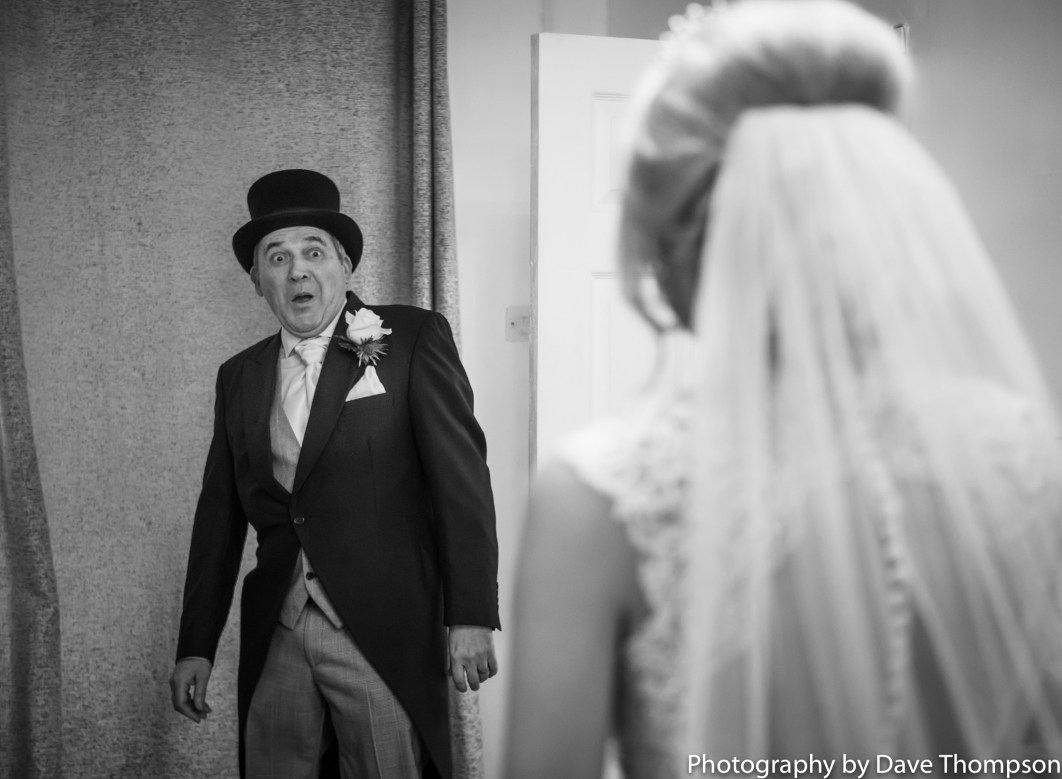 Father sees his daughter for the first time in her dress