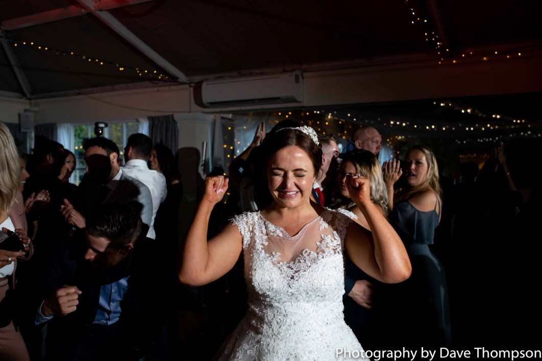 The bride celebrates getting married