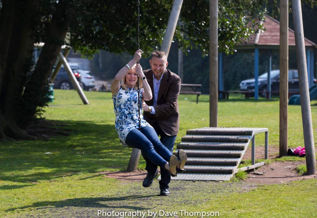 Fun on the park during a pre wedding shoot