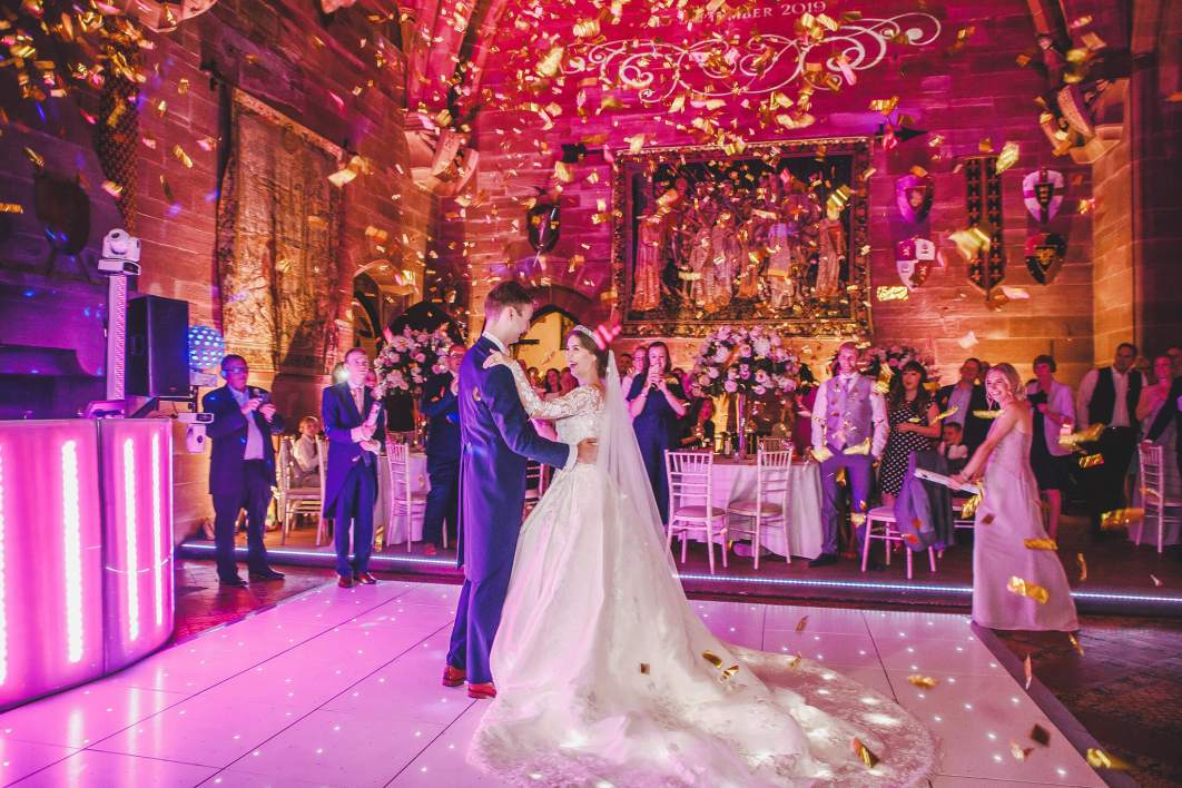 Newlyweds during their first dance