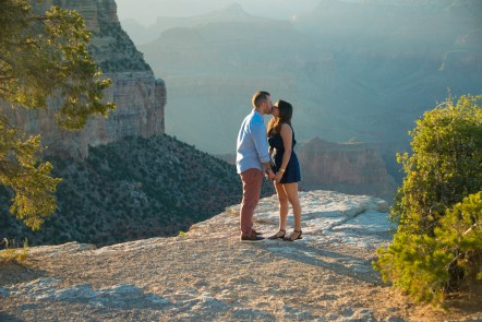 Two newly engaged people at the South Rim