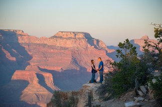 Engagement at sunset at Grand Canyon South Rim